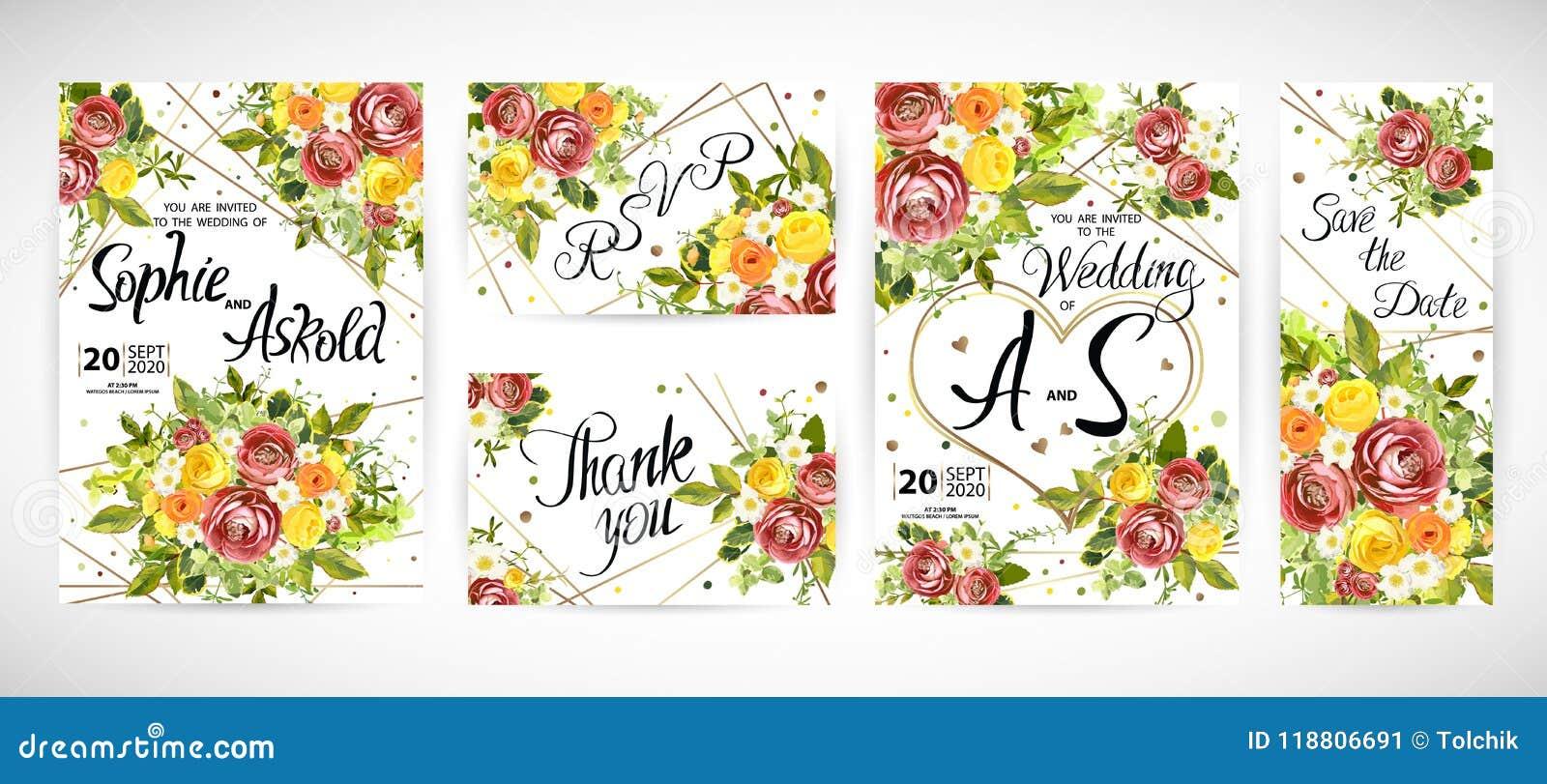 En épousant le calibre floral invitez Illustration de vecteur