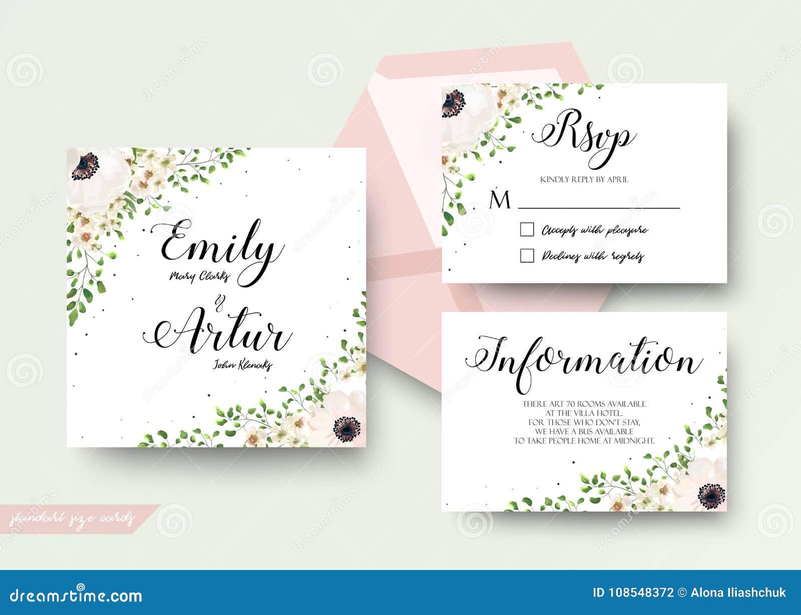 En épousant le style floral d aquarelle invitez, rsvp, font gagner la date, tha