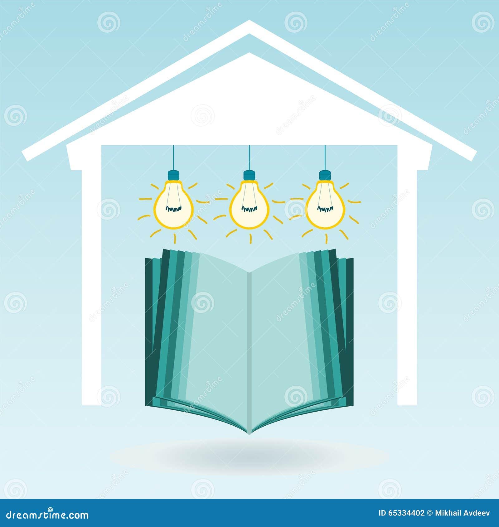 En öppen bok i huset under de elektriska lamporna