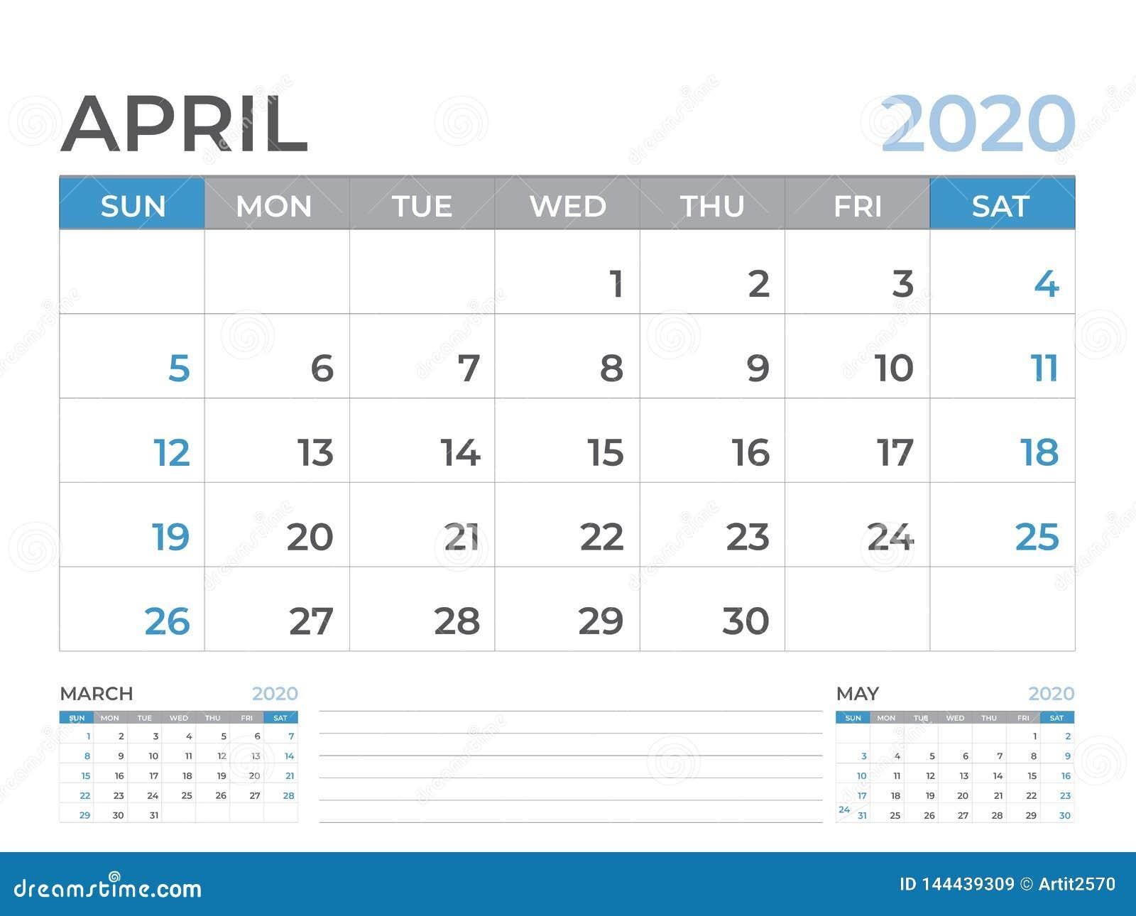 En abril de 2020 plantilla del calendario, talla 8 x de la disposición de calendario de escritorio 6 pulgadas, diseño del planifi