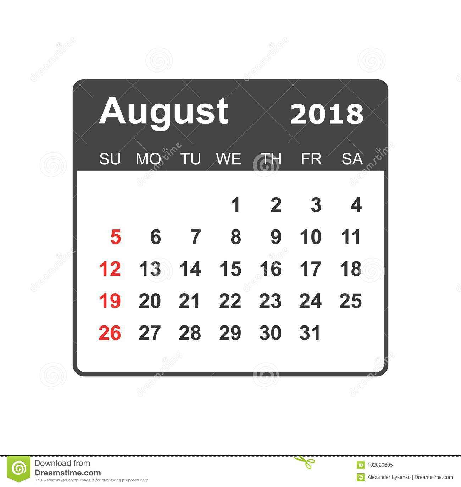 En Agosto De 2018 Calendario Plantilla Del Diseño Del Planificador ...
