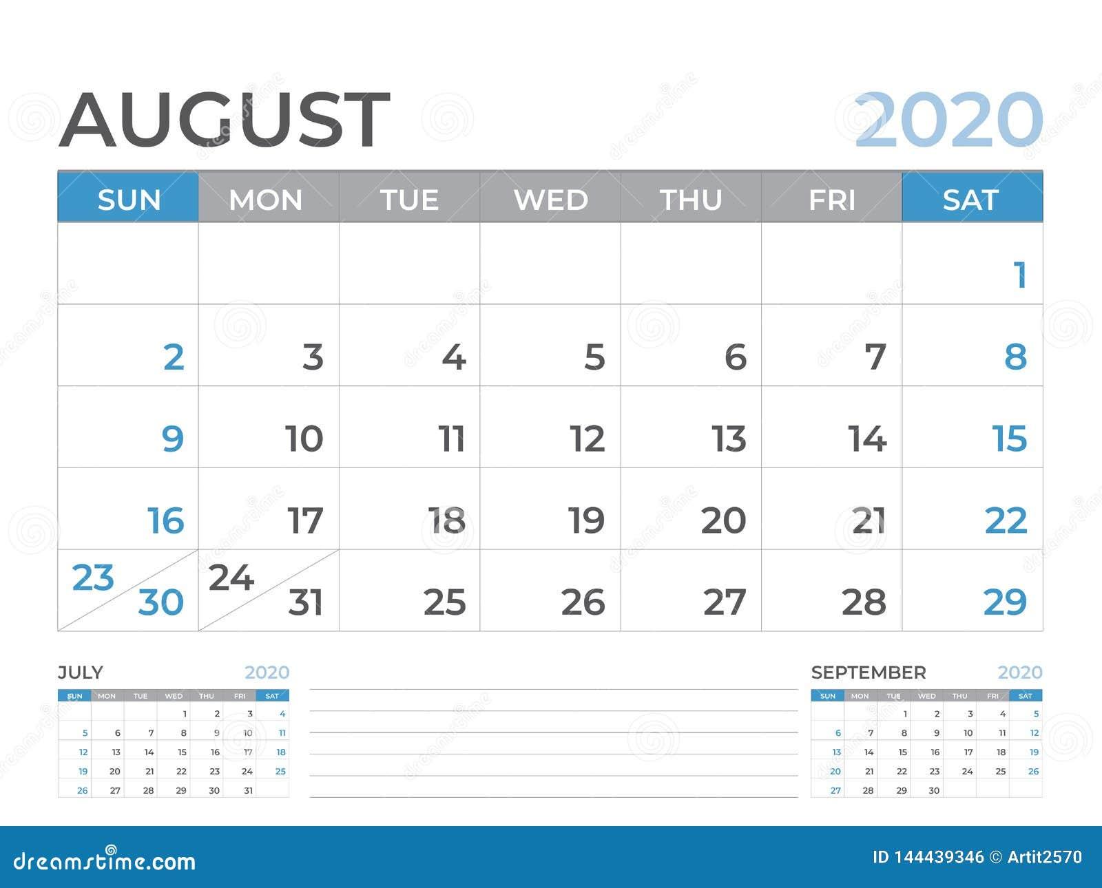 En agosto de 2020 plantilla del calendario, talla 8 x de la disposición de calendario de escritorio 6 pulgadas, diseño del planif