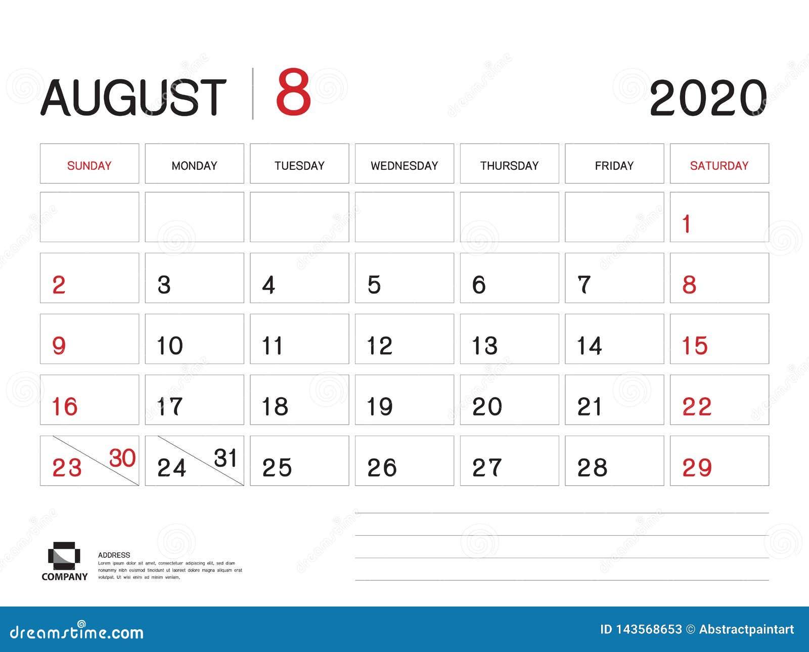 Calendario De Agosto 2020.En Agosto De 2020 Plantilla Del A O Vector 2020 Dise O Del