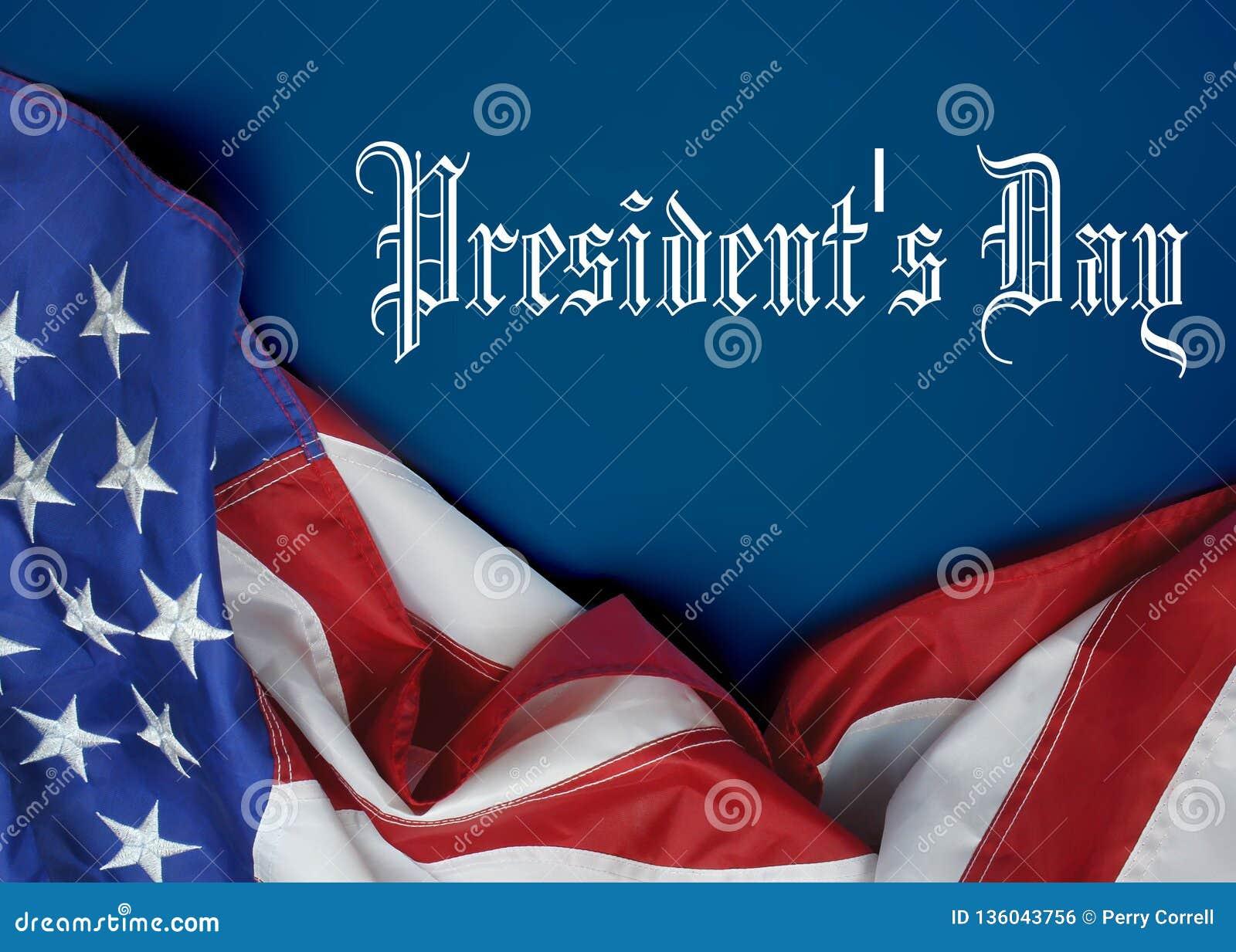 En Amerikas förenta staterflagga som draperas som en gräns med presidentdagmeddelandet