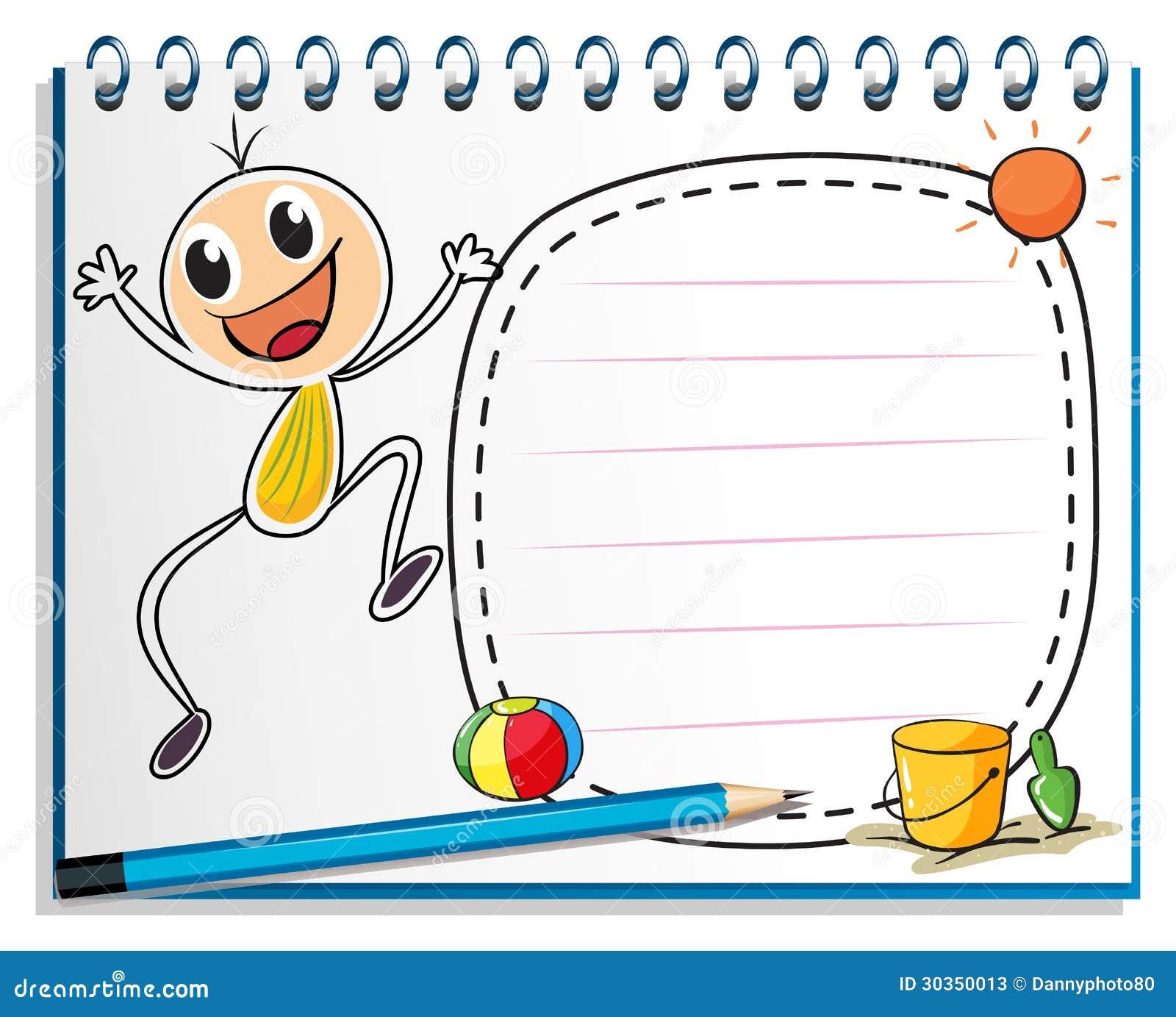 En anteckningsbok med en teckning av en barnbanhoppning