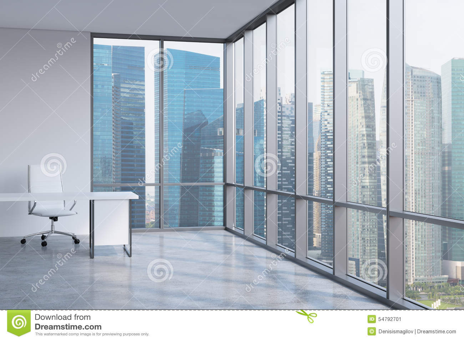 En arbetsplats i ett panorama- kontor för modernt hörn Affärsområde i Singapore