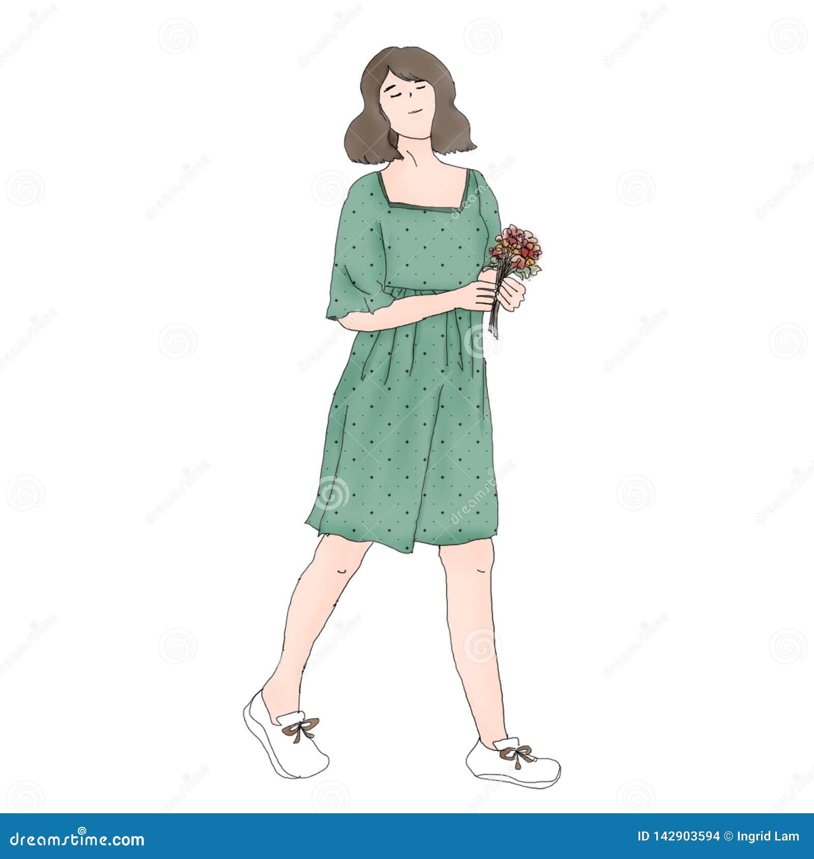 En asiatisk flicka för kort hår
