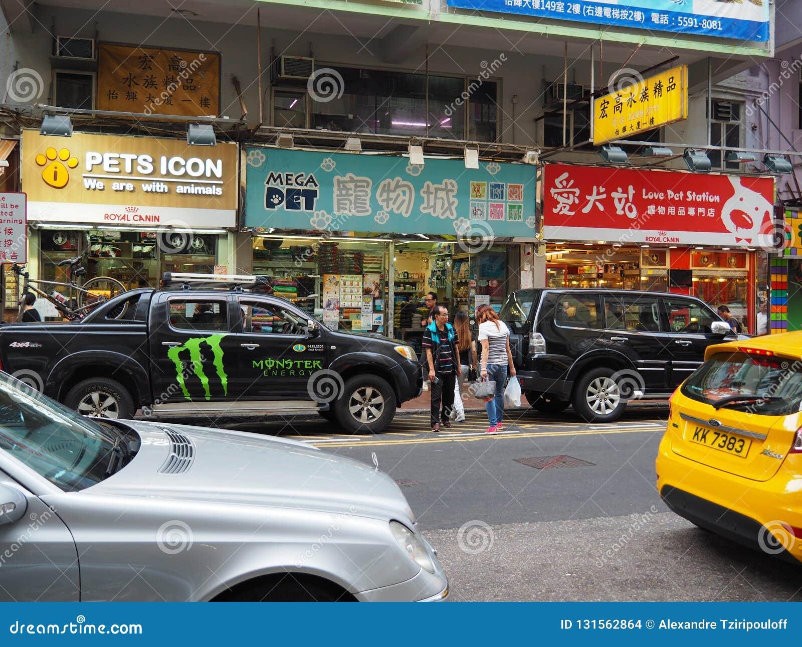 En bild av det olika husdjuret shoppar på den Tung Choi gatan i Hong Kong