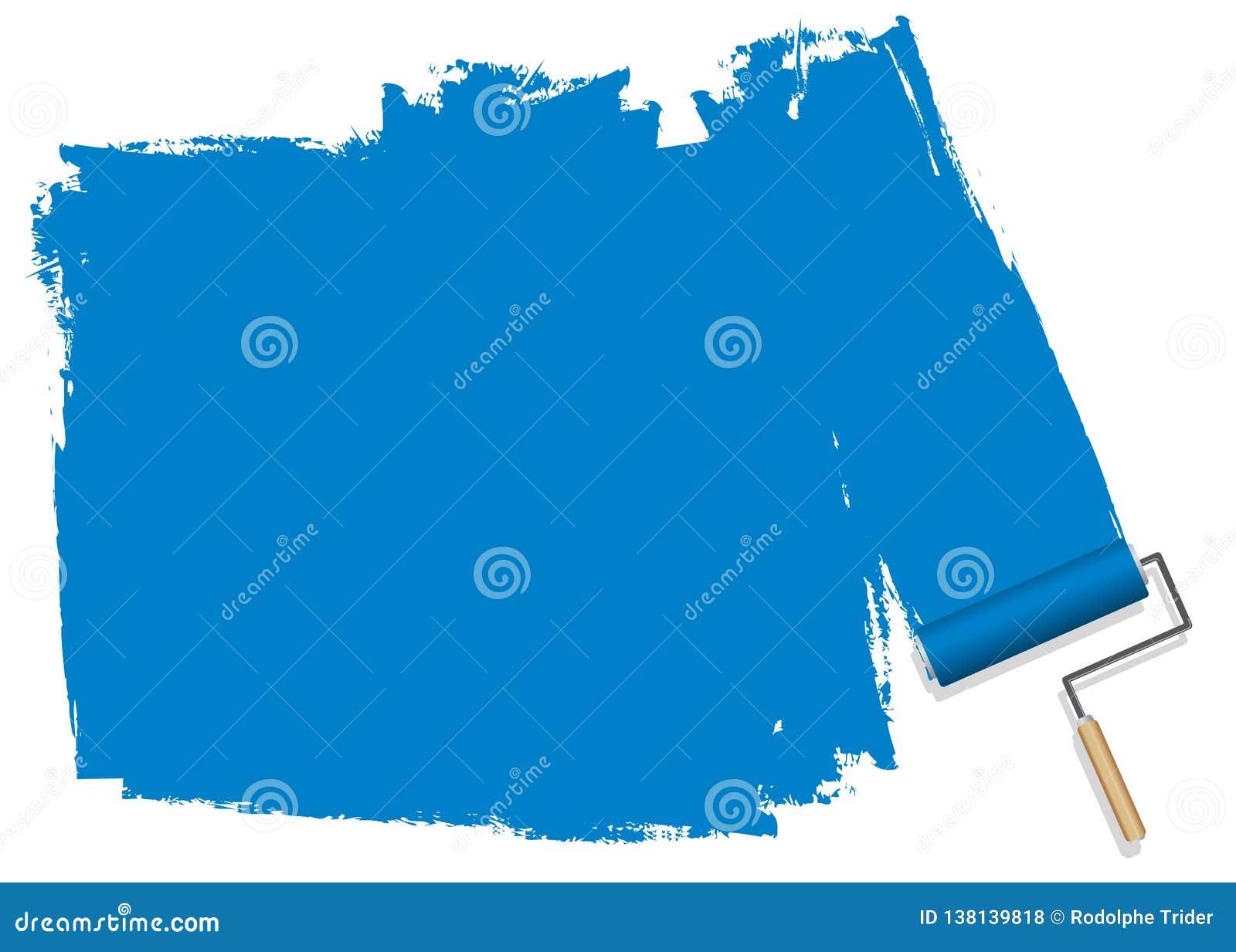 En blå bakgrund som målas med en rulle
