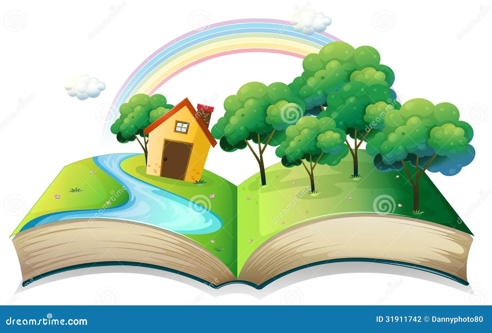 En bok med en berättelse av ett hus på skogen