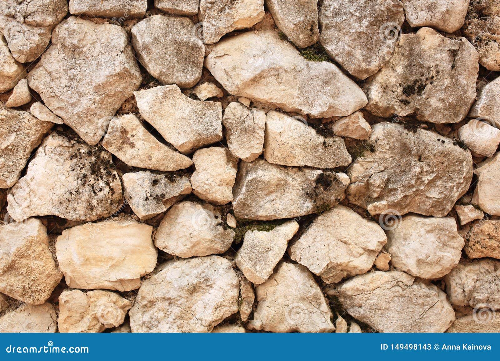 En bra textur av lantligt stenar väggen i bygd
