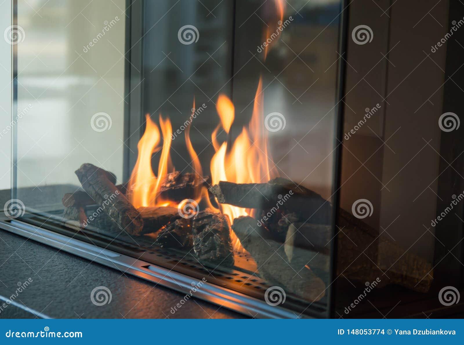 En brand bränner i en exponeringsglasspis, utstrålar värme