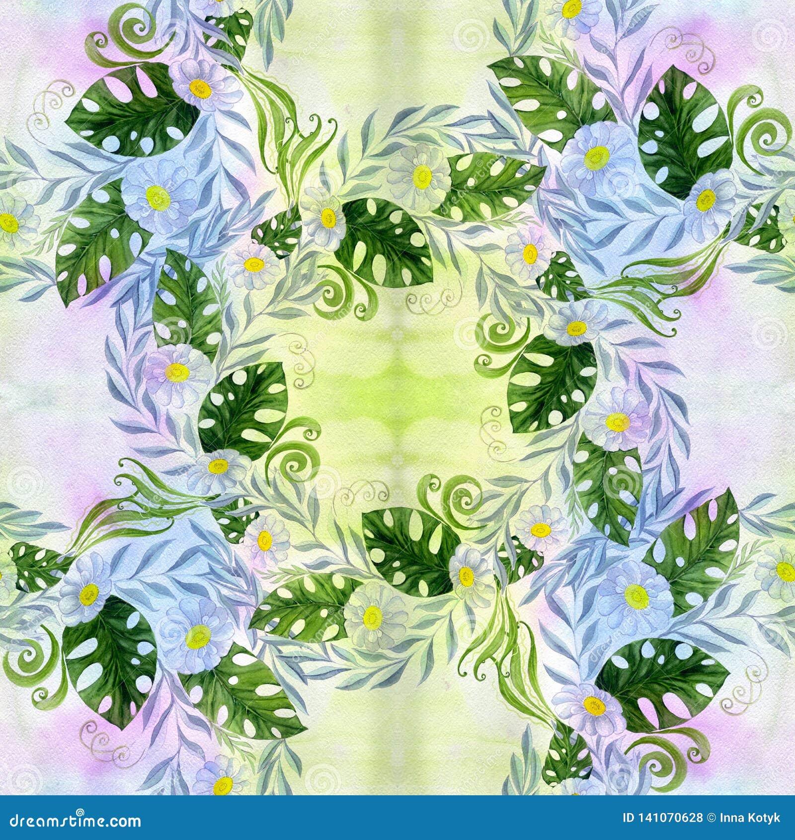 En bukett av tusenskönablommor - blommor, sidor på vattenfärgbakgrund