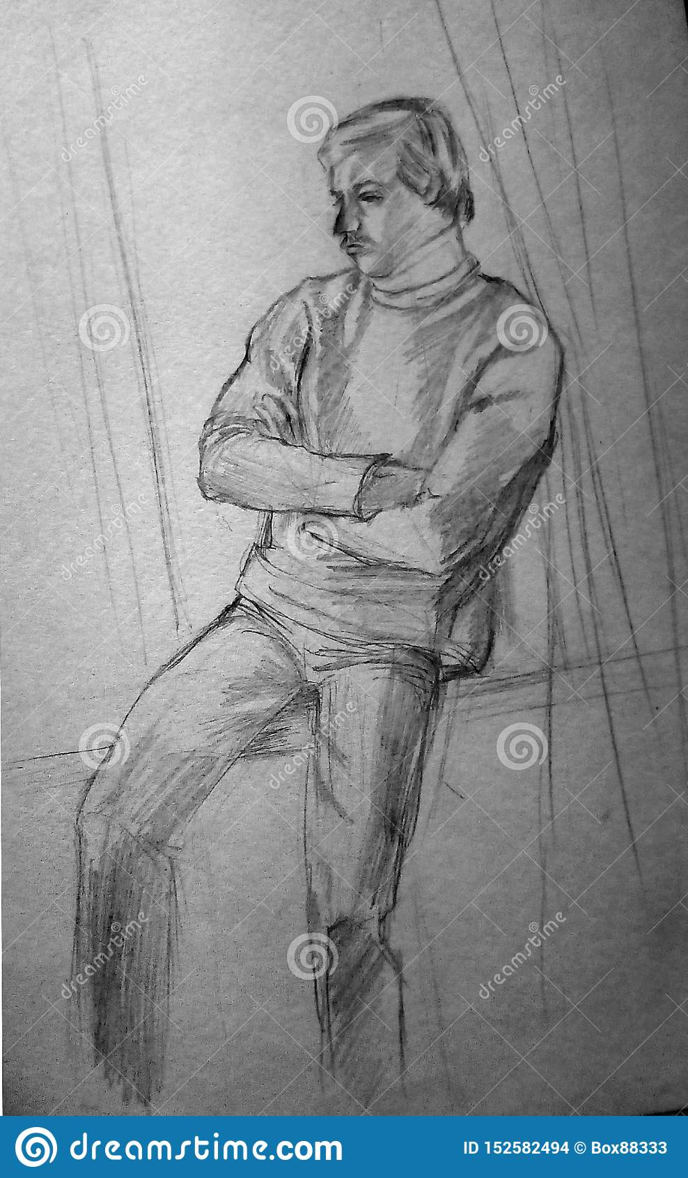 En buse skissar av en person som sitter på fönsterbrädan