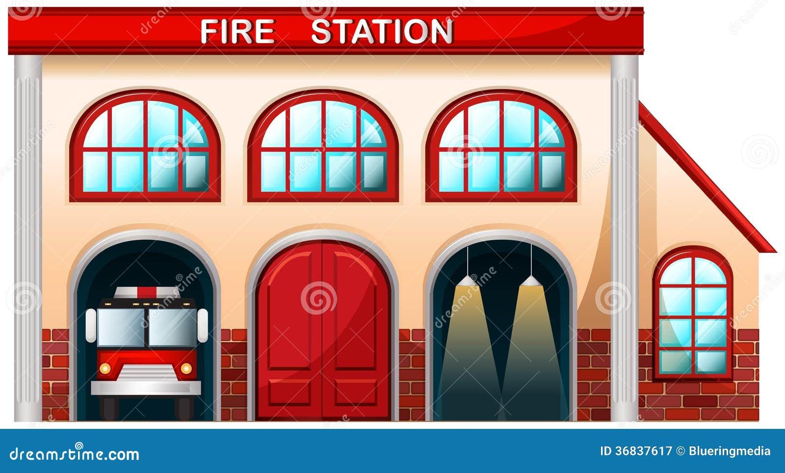 En byggnad för brandstation