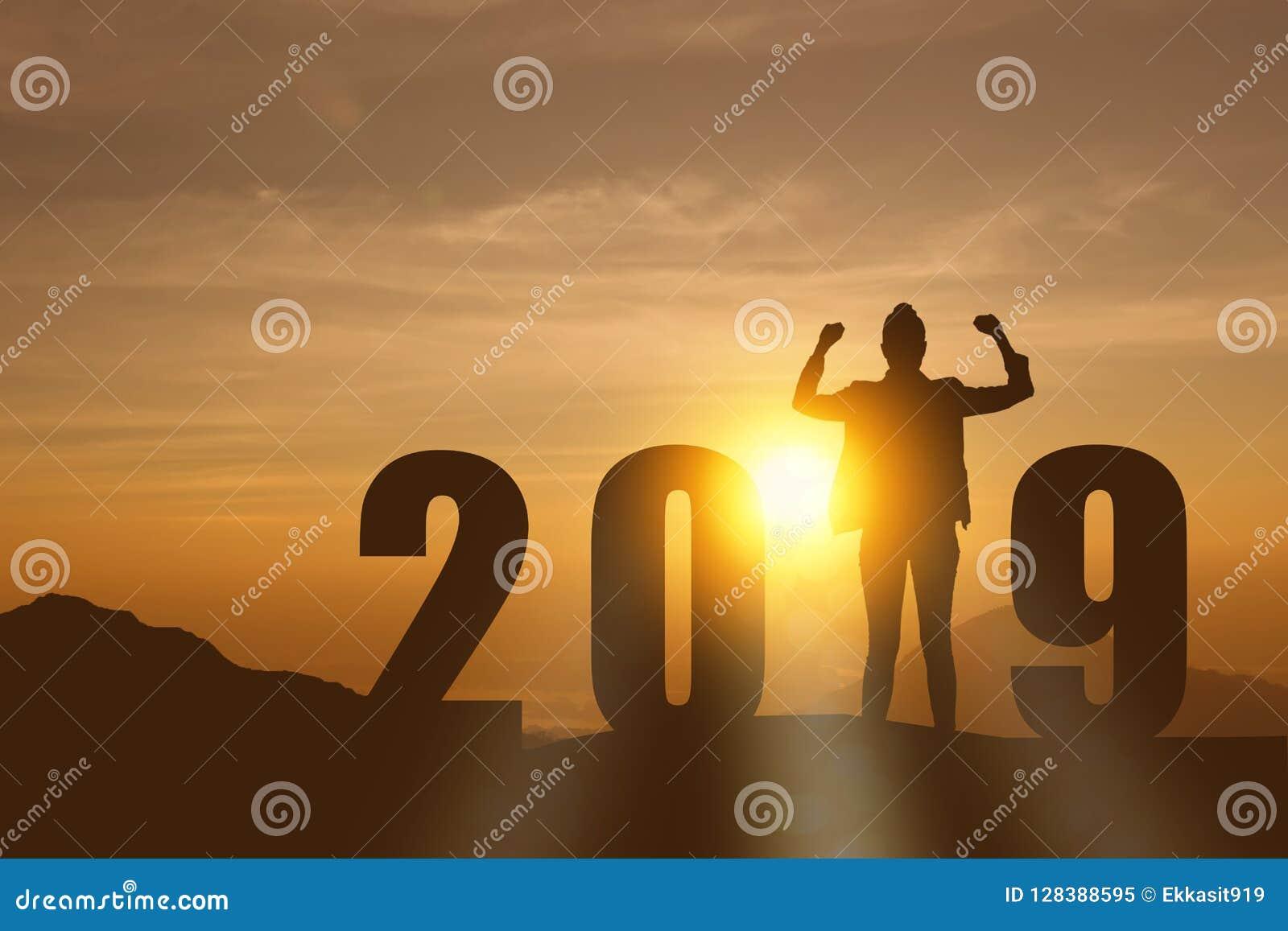 En célébrant la nouvelle année 2019 silhouettez la jeune femme d affaires d espoir de liberté se tenant et appréciant sur le le d
