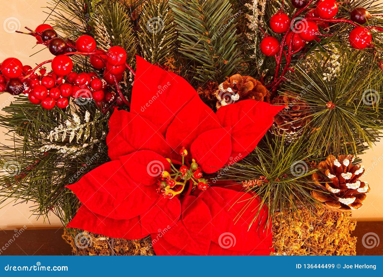 En closeup av julpynt med grönska, julstjärnor och röda bär
