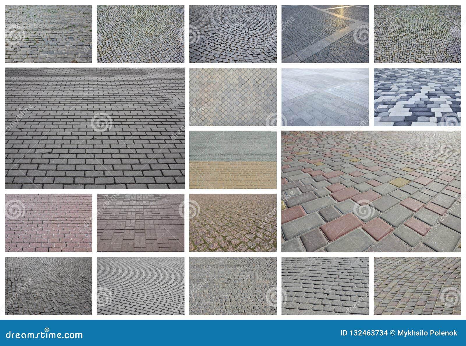 En collage av många bilder med fragment av att stenlägga nära tegelplattor