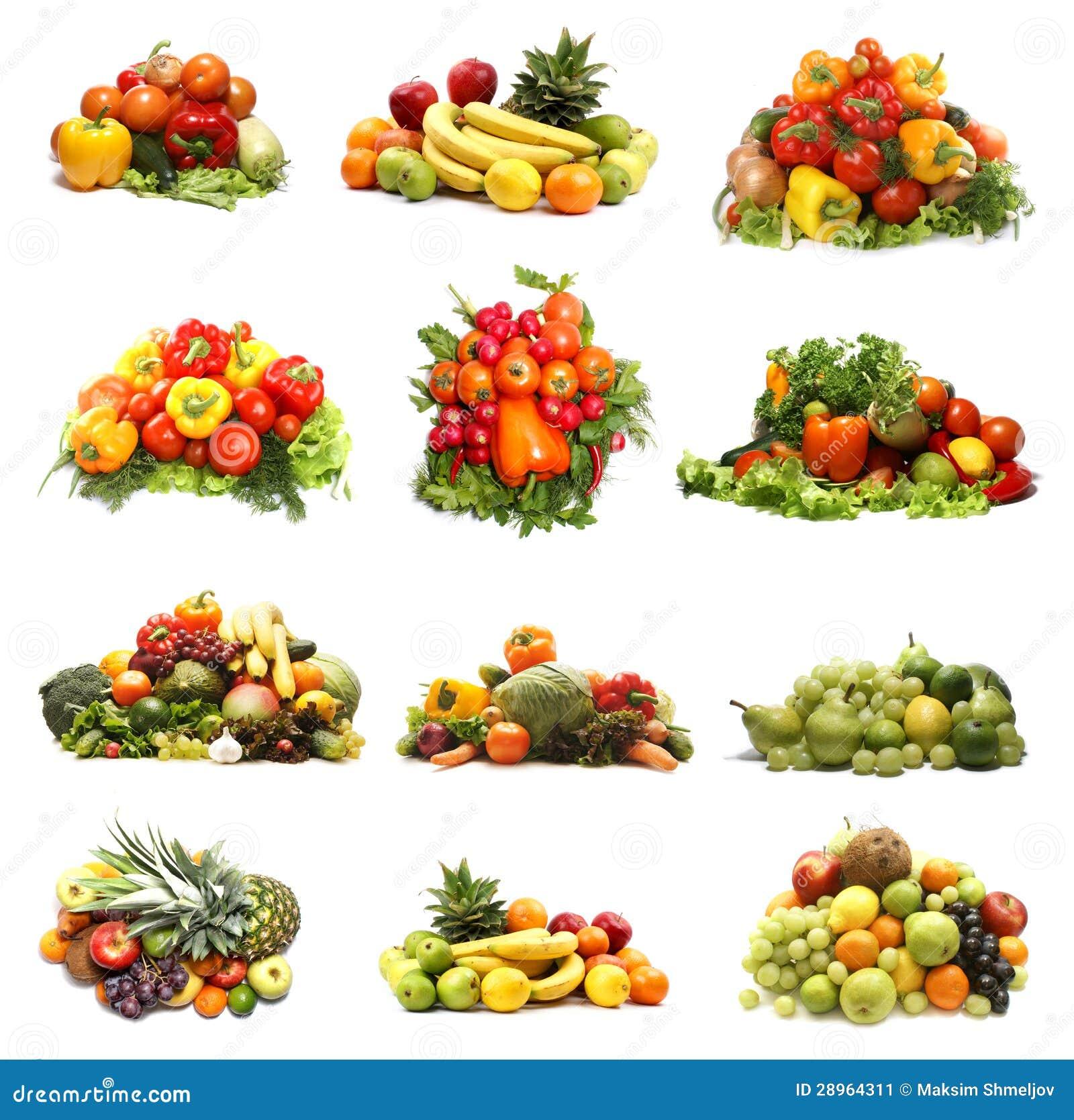 En collage av många olika frukter och grönsaker