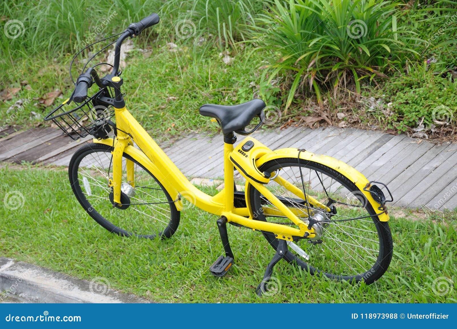En cykel från en cykel som delar företaget som parkeras olagligt