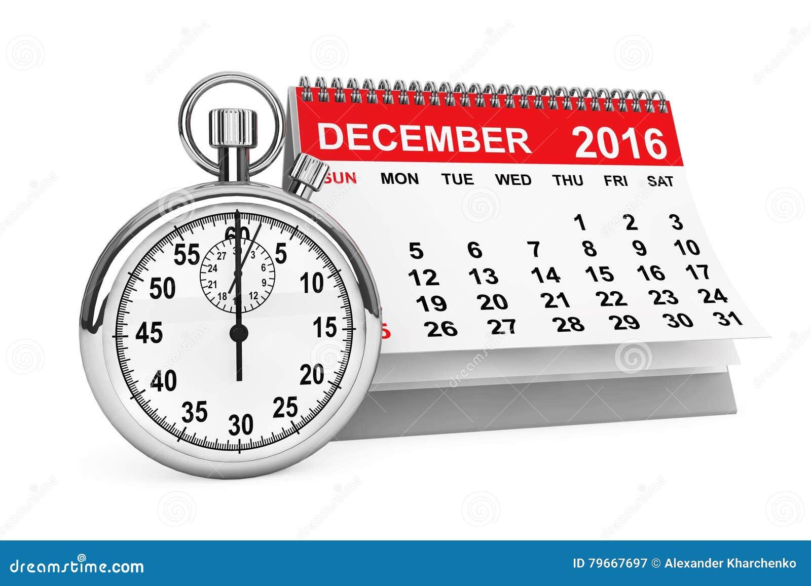 En diciembre de 2016 calendario con el cronómetro representación 3d