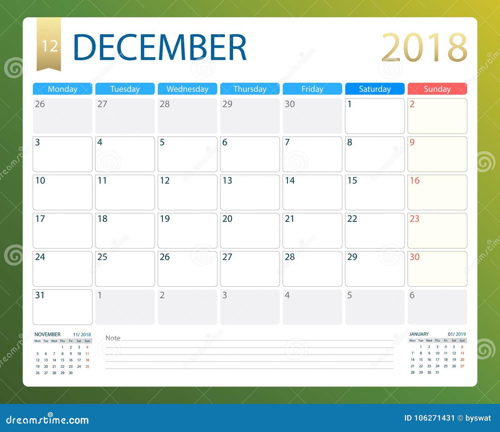 Calendario Diciembre 2018 Para Imprimir.En Diciembre De 2018 El Calendario O El Planificador Del