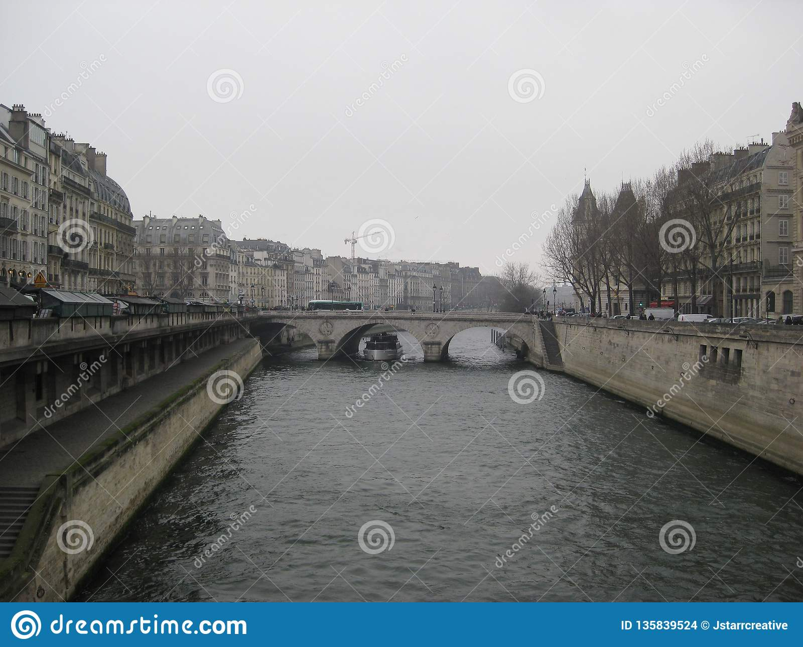 En dimmig sikt in mot en bro över floden Seine, Paris