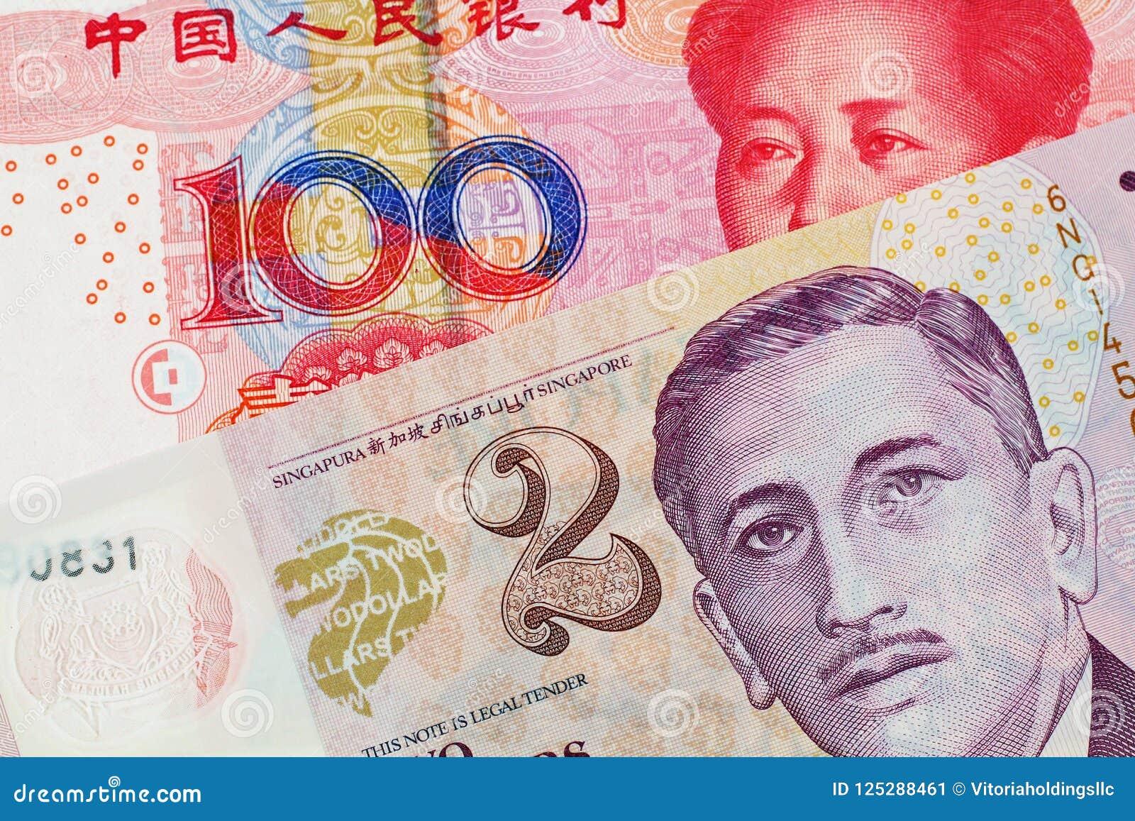 En dollarsedel för två Singapore med den Yuan för hundra kines sedeln