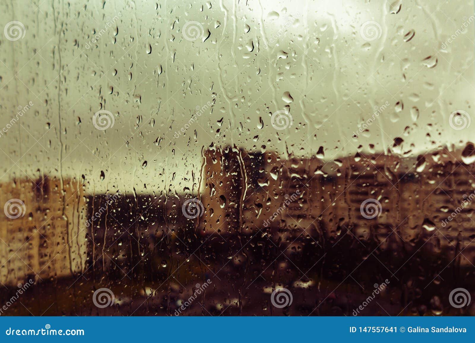 En droppe av regn p? f?nstret av sorgsenheten av l?ngtan, bakgrundssuddighet