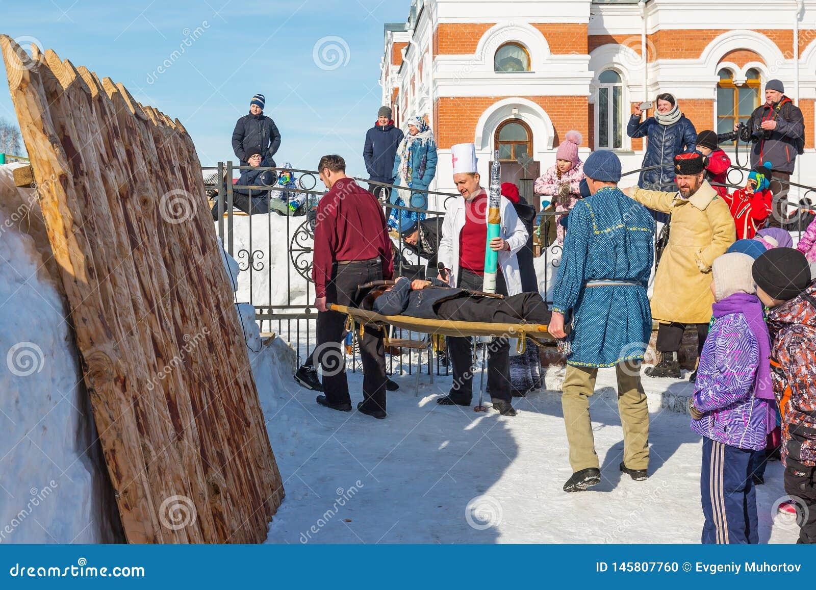 En el d?a de fiesta de Maslenitsa La ciudad de Berdsk, Siberia occidental