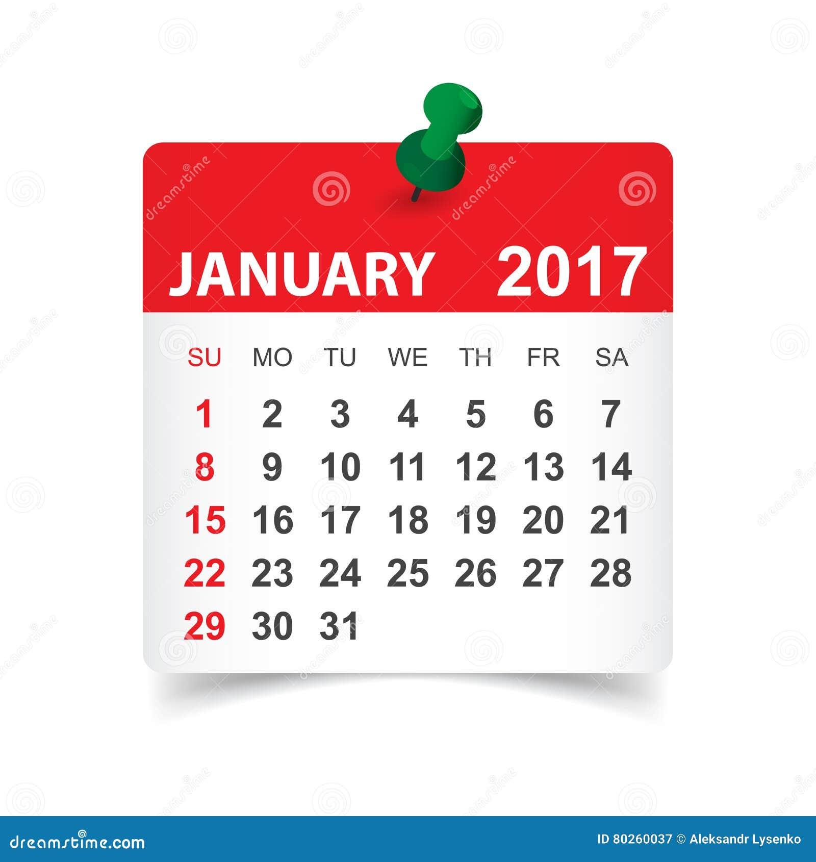 En enero de 2017 calendario