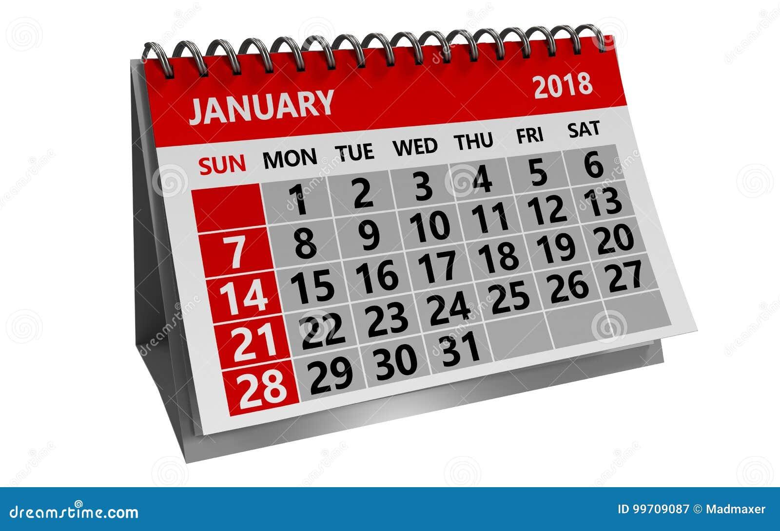 En enero de 2018 calendario