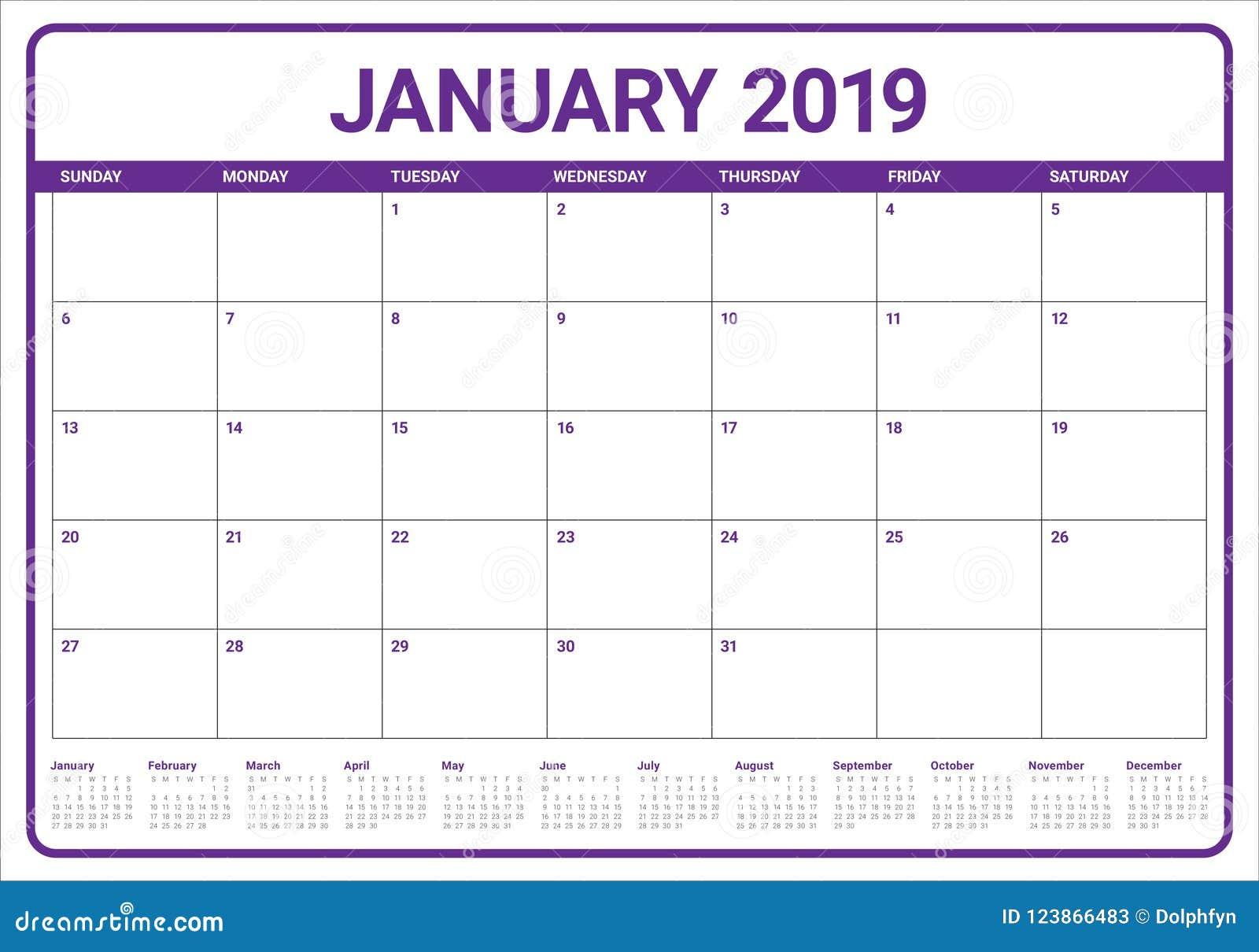 En Enero De 2019 Ejemplo Del Vector Del Calendario De Escritorio