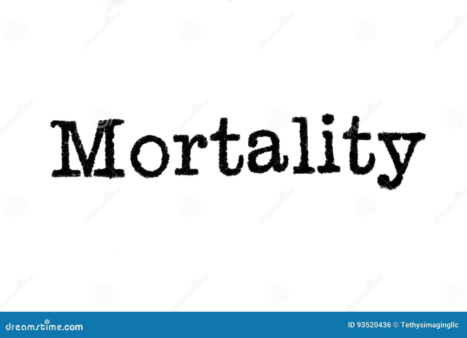 `en För ord`-dödlighet från en skrivmaskin på vit