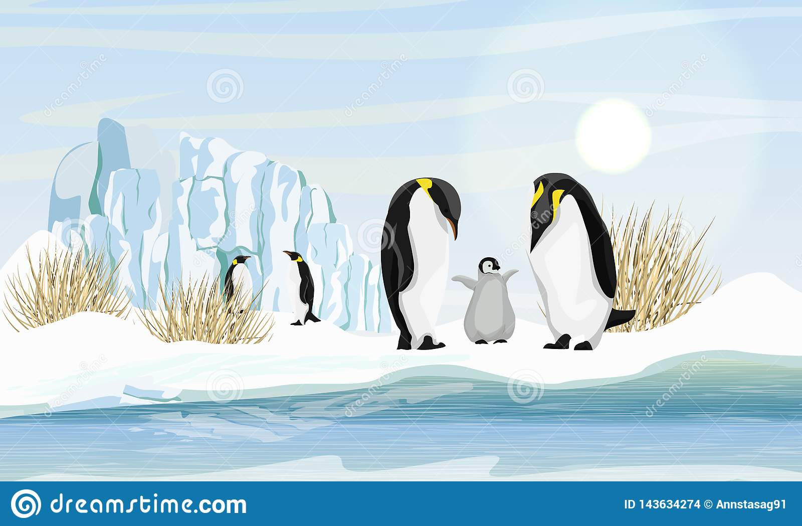 En familj av realistiska kejsarepingvin med en fågelunge vid havet eller havet Glaciär och torrt gräs
