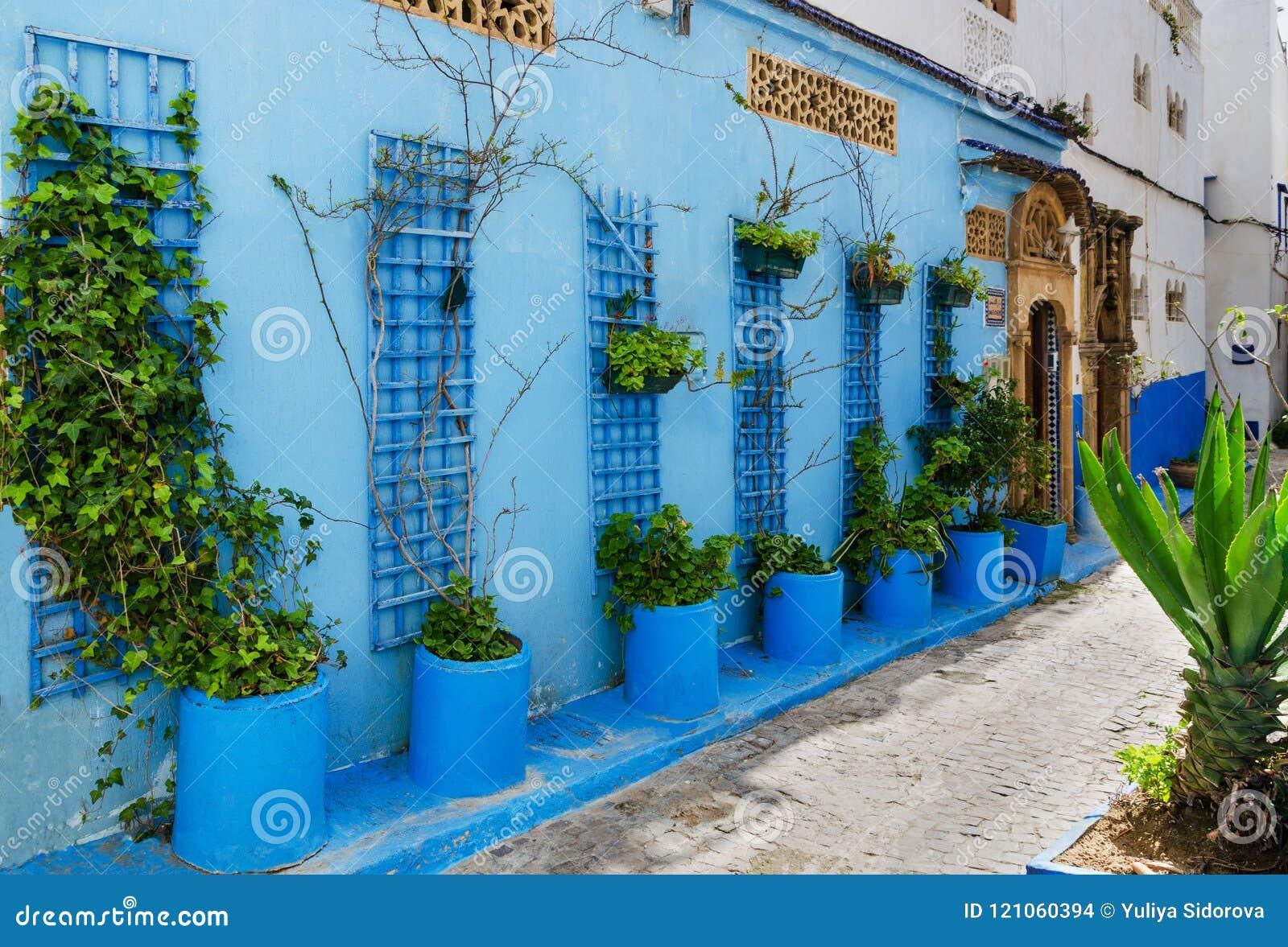 En fantastisk stad i Marocko, Rabat, Kasbah des Oudaia, smala gator, blåa väggar,