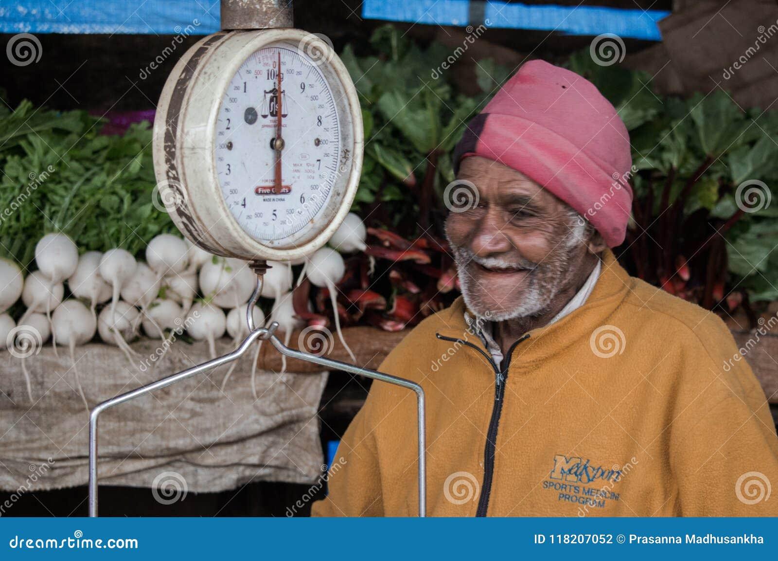 En fattig affärsman av landsbygder i Sri Lanka