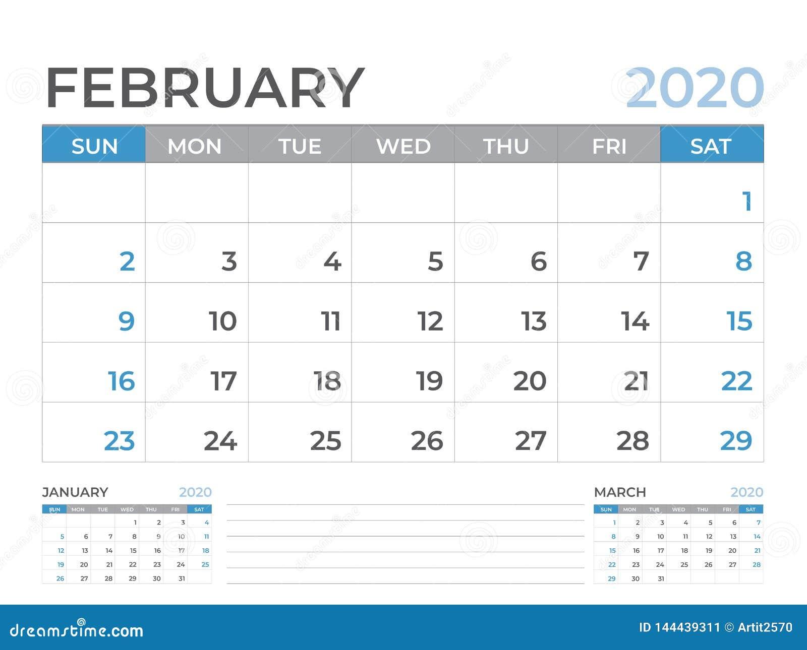 En febrero de 2020 plantilla del calendario, talla 8 x de la disposición de calendario de escritorio 6 pulgadas, diseño del plani