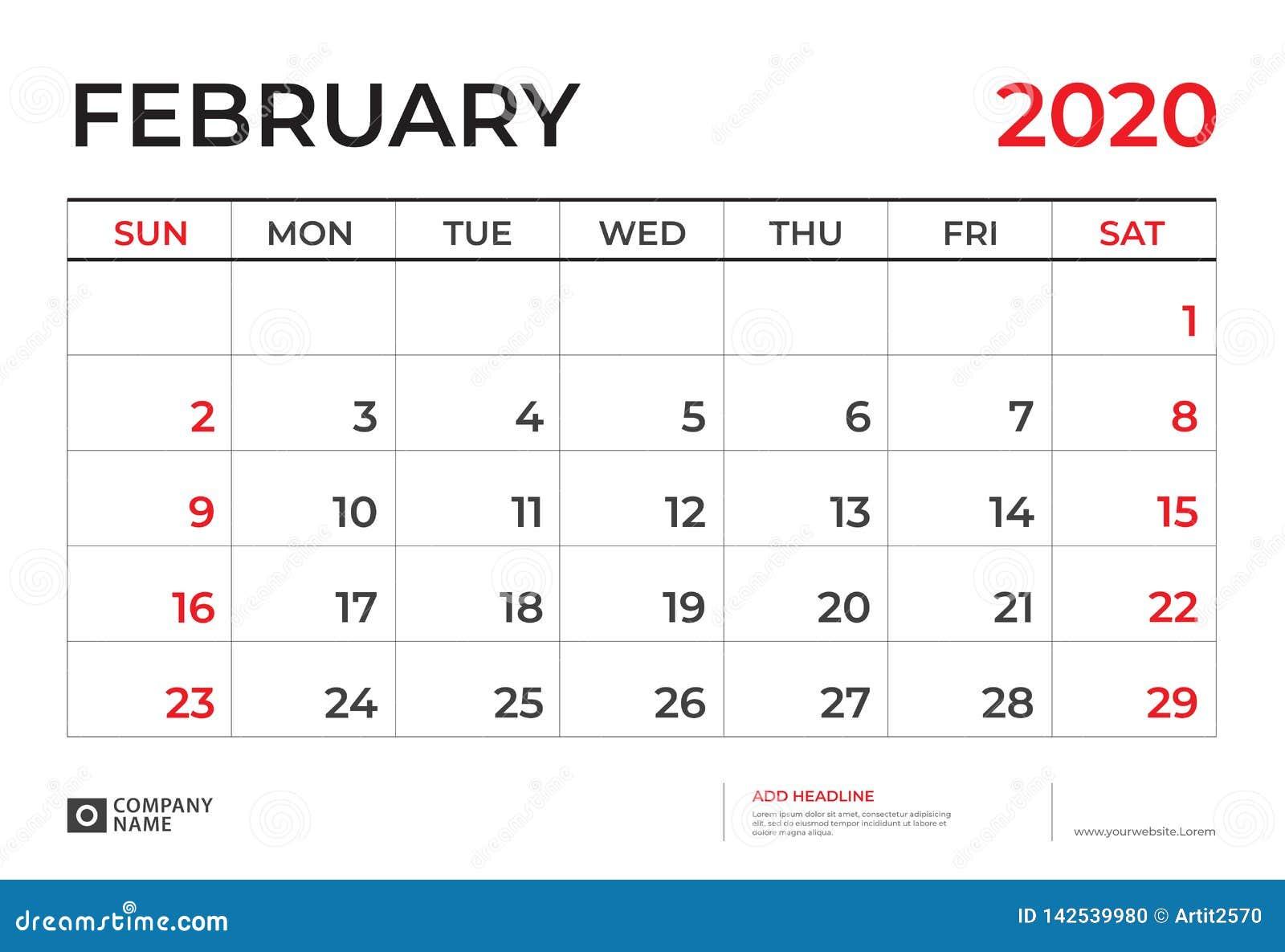 Febrero 2020 Calendario.En Febrero De 2020 Plantilla Del Calendario Talla 9 De La