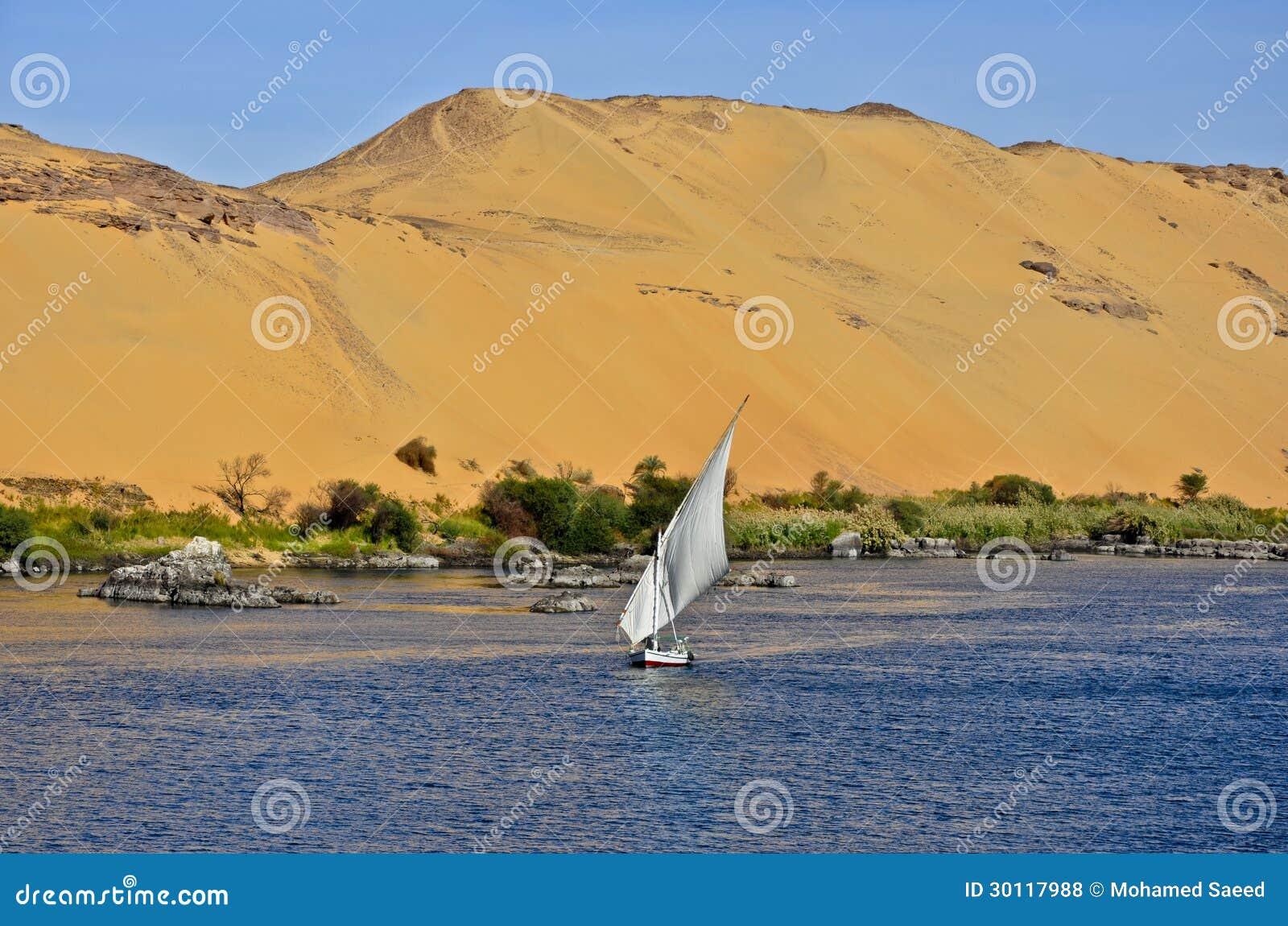 En felucca på Nilen i Aswan, Egypten