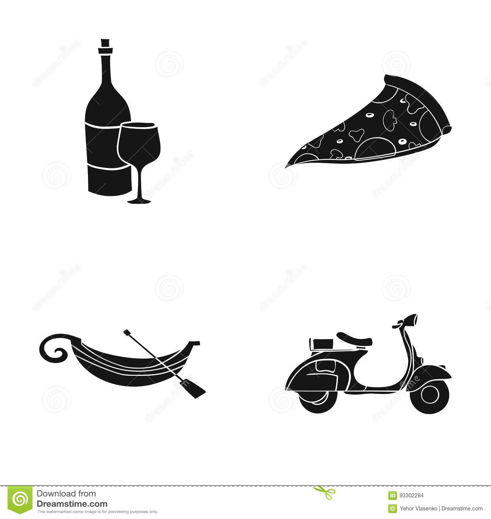 En flaska av vin, ett stycke av pizza, en gundola, en sparkcykel Italien ställde in samlingssymboler i svart materiel för stilvek