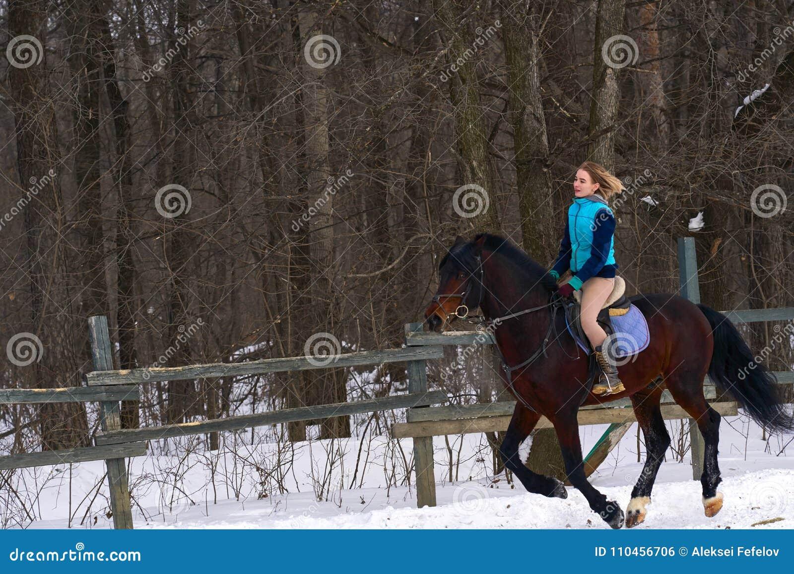 En flicka på en häst hoppar galopper En flicka utbildar att rida en häst i en liten paddock En molnig vinterdag