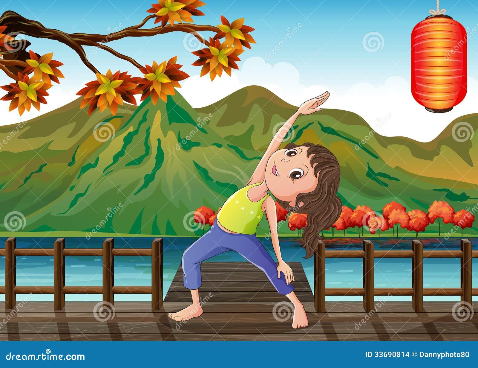 En flicka som övar på bron med en lykta