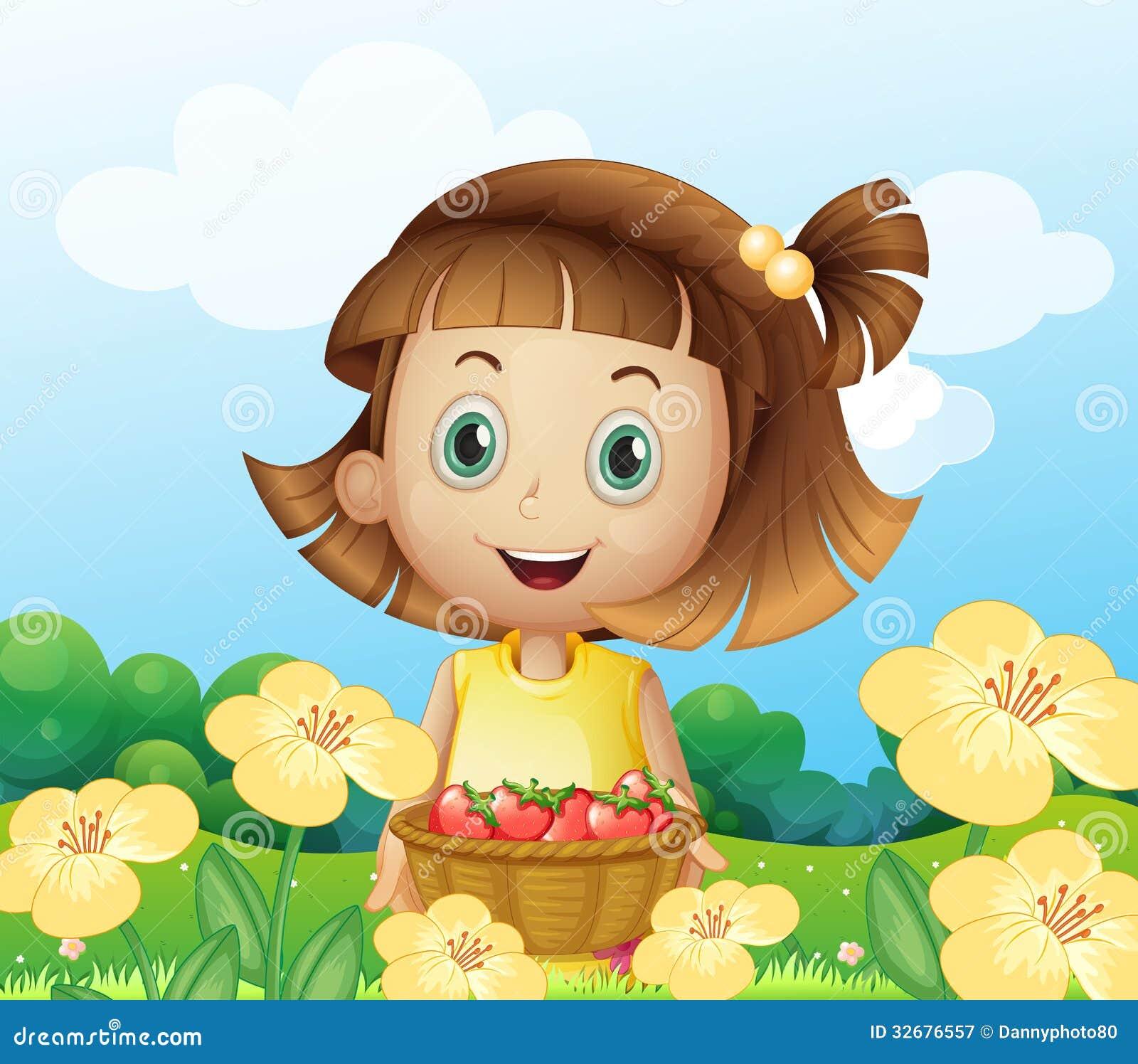 En flicka som rymmer en korg av frukter