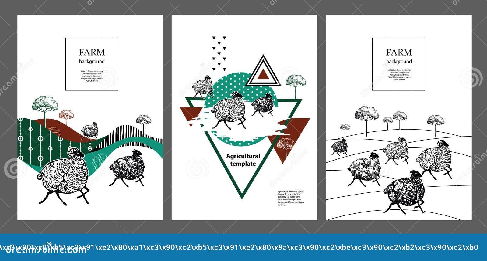 En flock av får kör geometrisk sammans?ttning Jordbruks- illustration