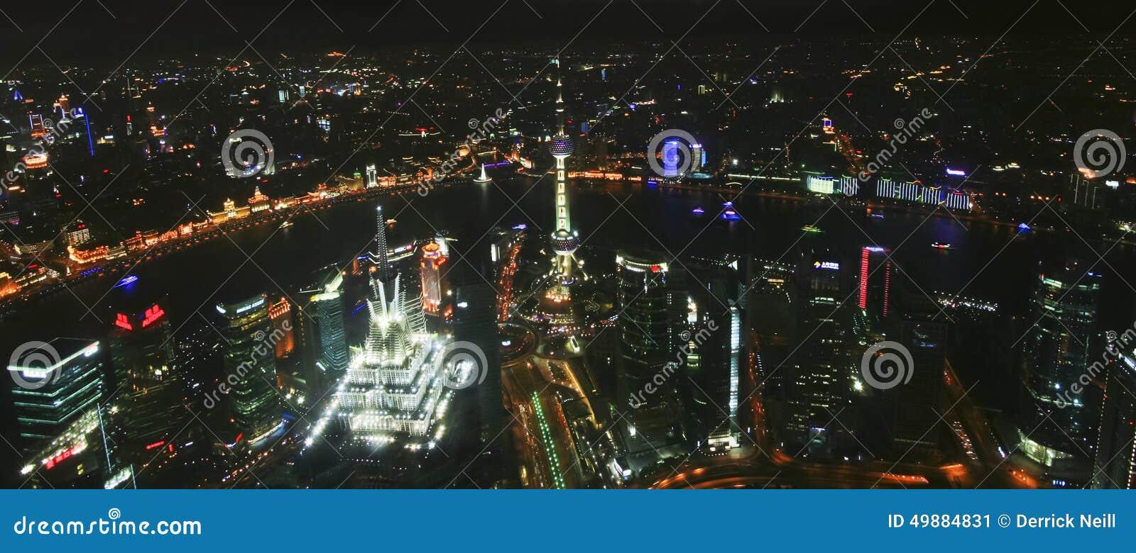 En flyg- nattplats av Shanghai, Kina