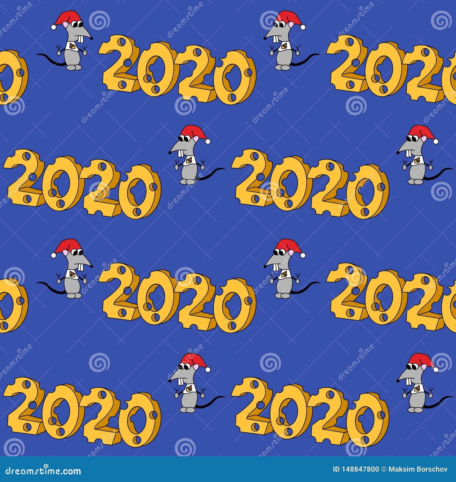 2020 en forma del queso con el car?cter hambriento A?o de la rata Modelo incons?til