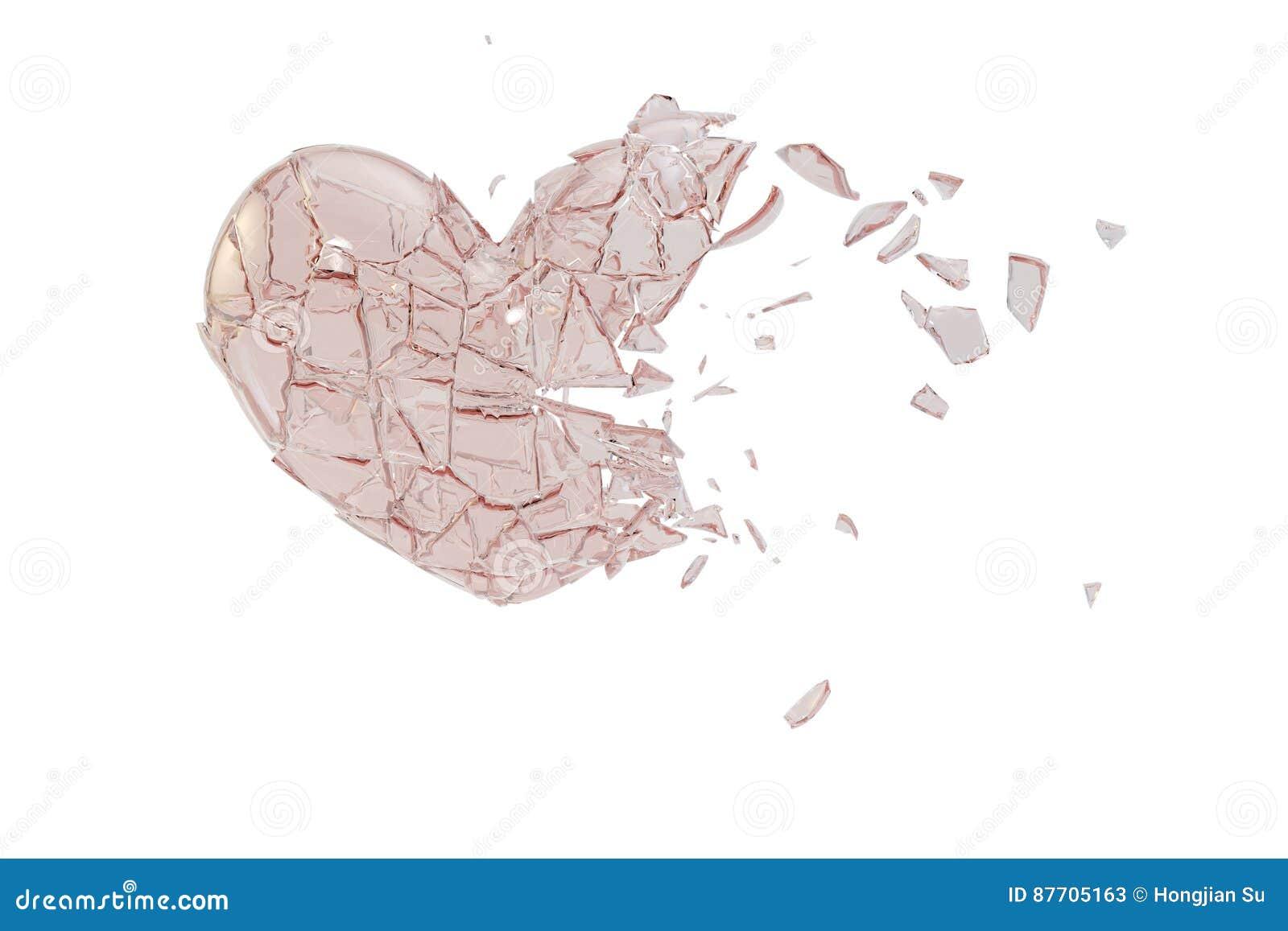 En forme de coeur en verre cassé