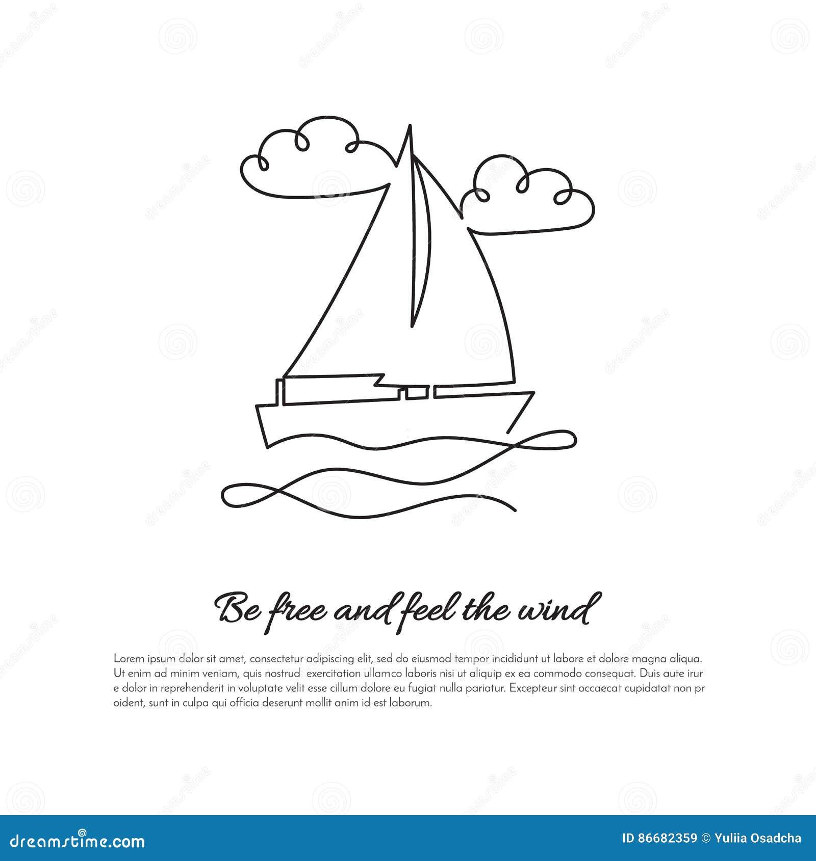 En fortlöpande linje segelbåt på vågor med tecknet