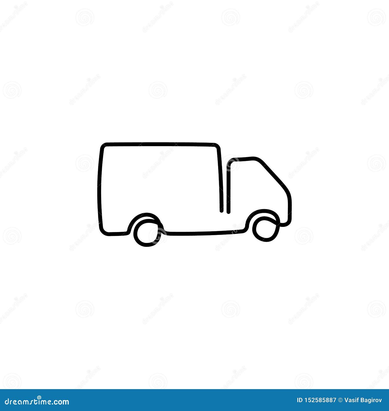 En fortl?pande dragen enkel konstlinje att dra f?r klotter skissar lastbilen med lastsl?pk?rning Begrepp av den globala behållare